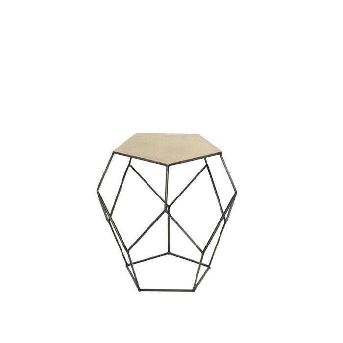 Side-Table-Pentagon-Zinc-with-Matte-Brass-Top