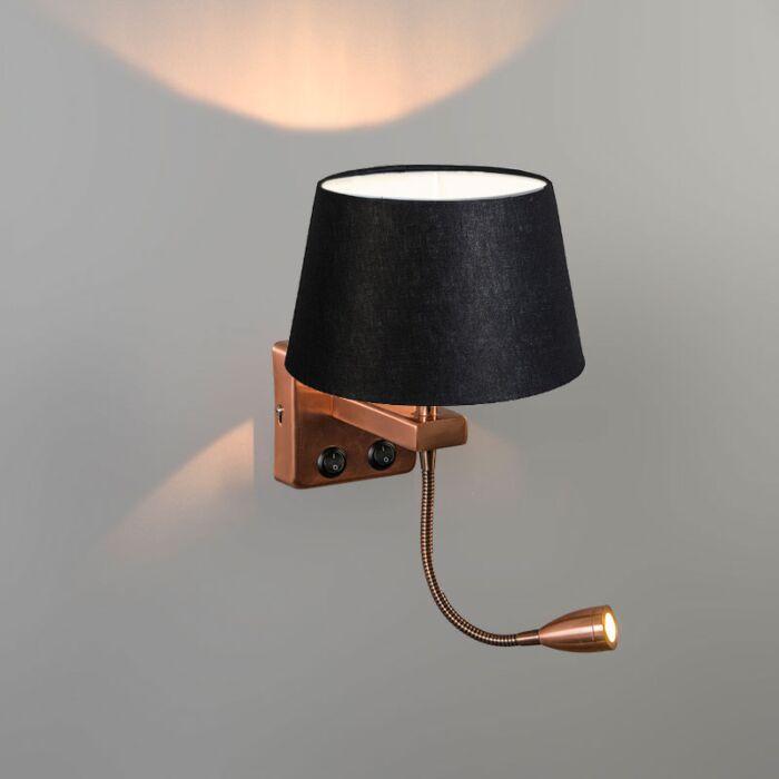 Wall-Lamp-Brescia-Combi-Copper-with-20cm-Shade-Black