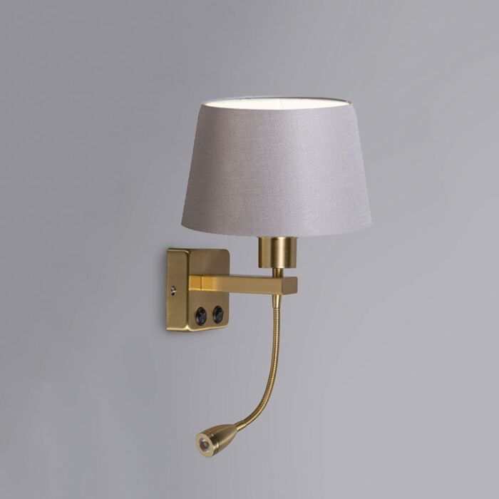 Wall-Lamp-Brescia-Combi-Gold-with-20cm-Shade-Light-Grey