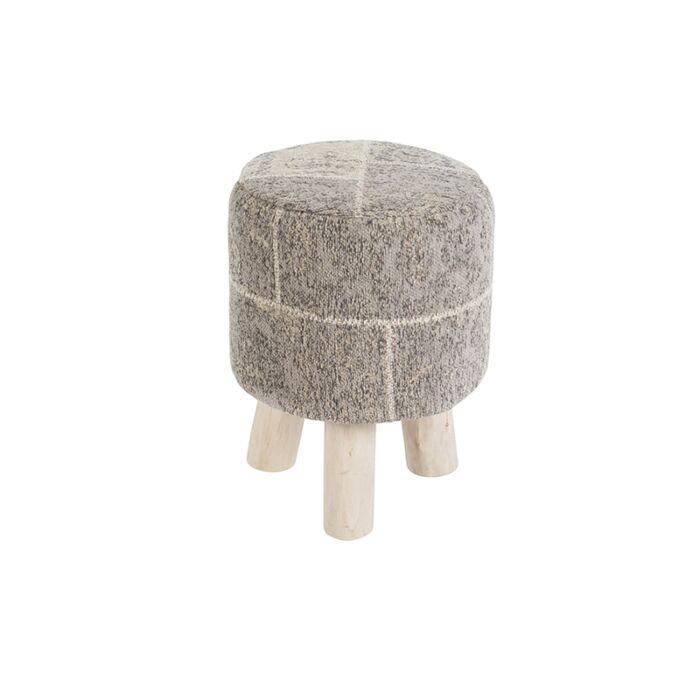 Vintage-Round-Patch-Stool-Grey/Beige-30x30x40cm---Agra