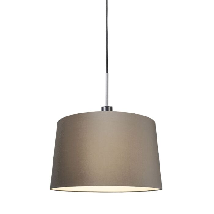 Modern-Pendant-Lamp-Black-with-45cm-Taupe-Shade---Combi-1