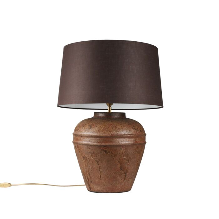 Table-Lamp-Arta-Small-Rust-with-Brown-Grey-Shade