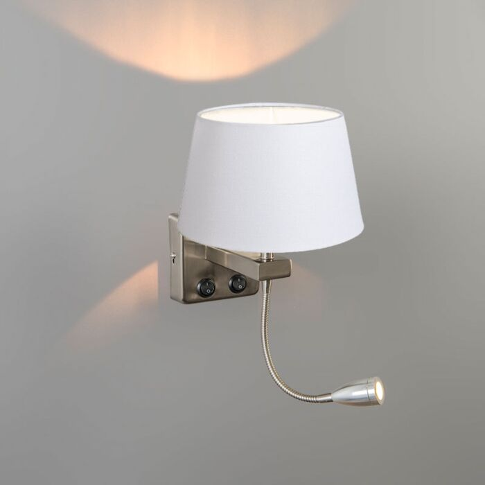 Wall-Lamp-Brescia-Combi-Steel-with-20cm-Shade-White