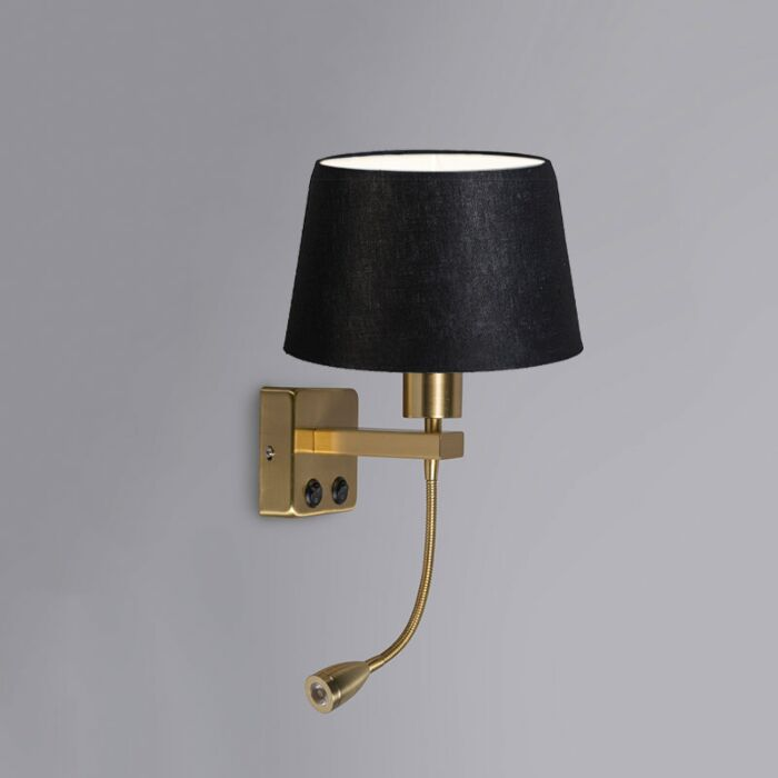 Wall-Lamp-Brescia-Combi-Gold-with-20cm-Shade-Black
