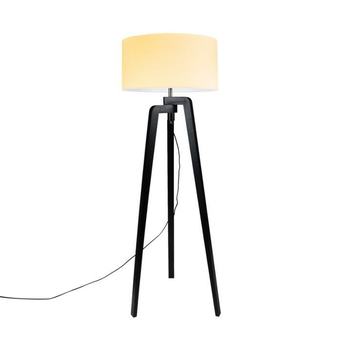 Floor-Lamp-Tripod-Puros-Black-with-50cm-Cream-White-Shade