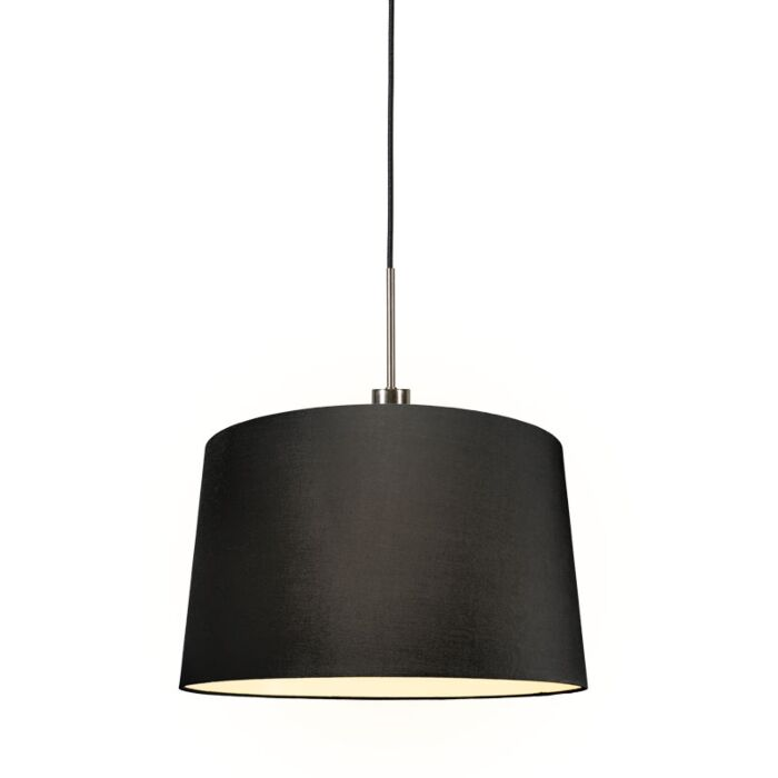 Modern-hanging-lamp-steel-with-shade-45-cm-black---Combi-1