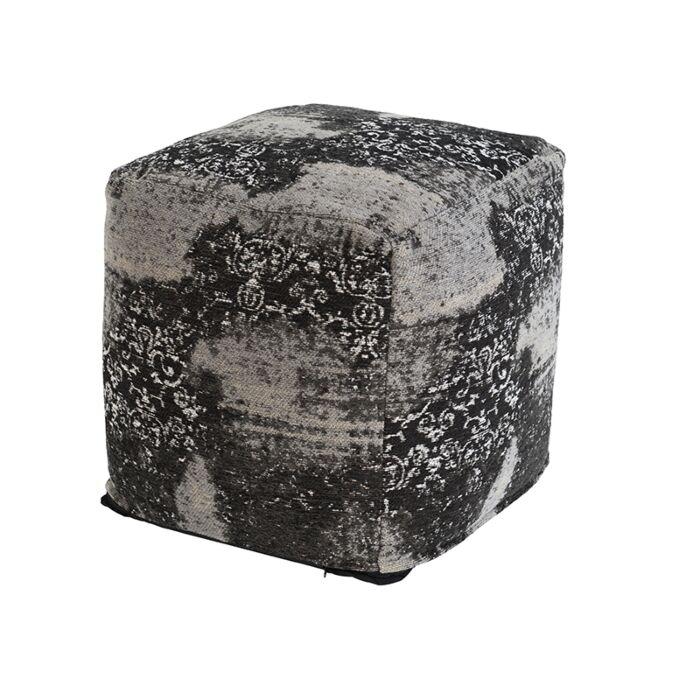 Vintage-Square-Ottoman-Pattern-Black/Grey-45x45x45cm---Puri