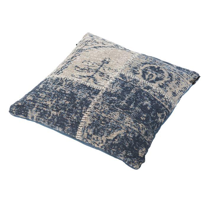 Vintage-Square-Patch-Pillow-Blue-45x45cm---Agra