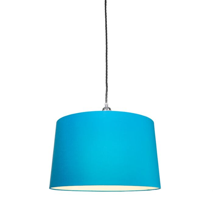 Pendant-Lamp-Cavo-Classic-Chrome-Black-with-45cm-Blue-Shade