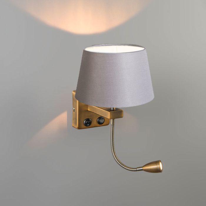 Wall-Lamp-Brescia-Combi-Chrome-with-20cm-Shade-Light-Grey