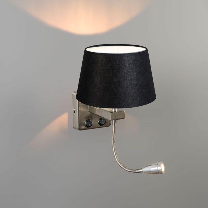Wall-Lamp-Brescia-Combi-Steel-with-20cm-Shade-Black