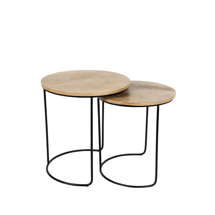 Set-of-2-Side-Tables-Hemis-Black-with-Round-Wood-Top
