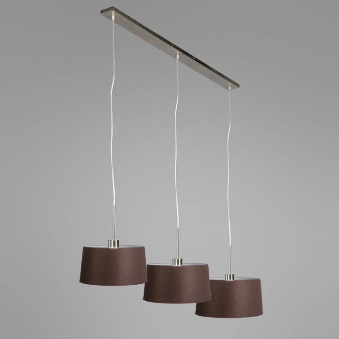 Pendant-Lamp-Combi-3-Steel-with-Brown-Shades