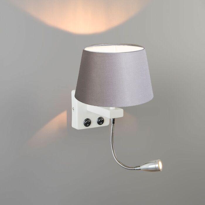 Wall-Lamp-Brescia-Combi-White-with-20cm-Shade-Light-Grey