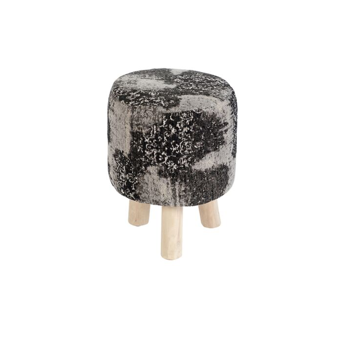 Vintage-Round-Pattern-Stool-Black/Grey-30x30x40cm---Puri