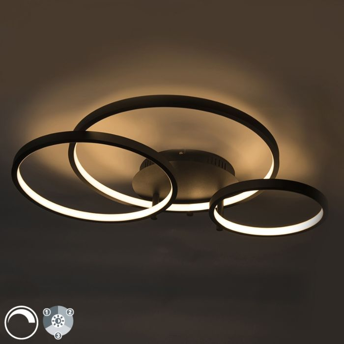 Modern-ceiling-lamp-black-incl.-LED-and-dimmer-Rondas
