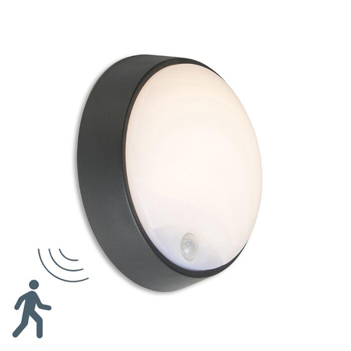 Wall-Lamp-Hortus-Round-LED-Black-with-PIR-Sensor