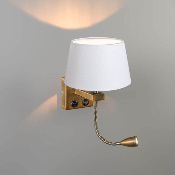 Wall-Lamp-Brescia-Combi-Bronze-with-20cm-Shade-White