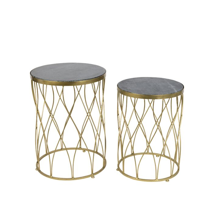 Set-of-2-Side-Tables-Marm-Brass-with-Black-Marble-Top