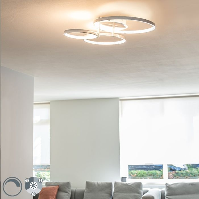 Modern-ceiling-lamp-white-incl.-LED-and-dimmer-Rondas