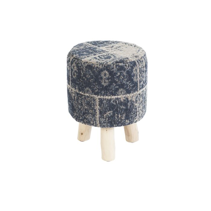 Vintage-Round-Patch-Stool-Blue-30x30x40cm---Agra