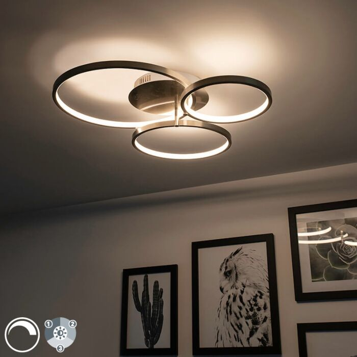Modern-ceiling-lamp-steel-incl.-LED-and-dimmer-Rondas
