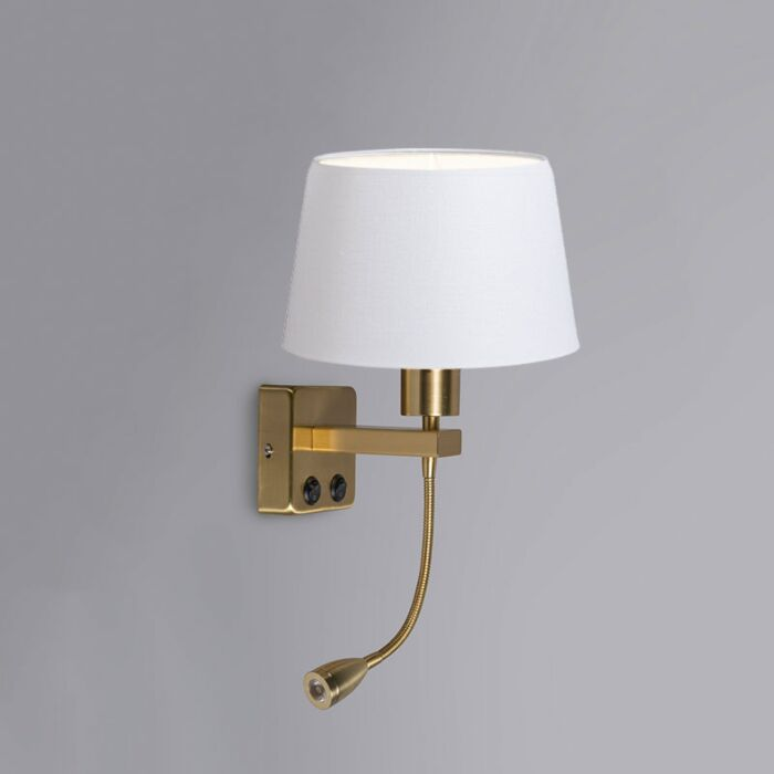 Wall-Lamp-Brescia-Combi-Gold-with-20cm-Shade-White