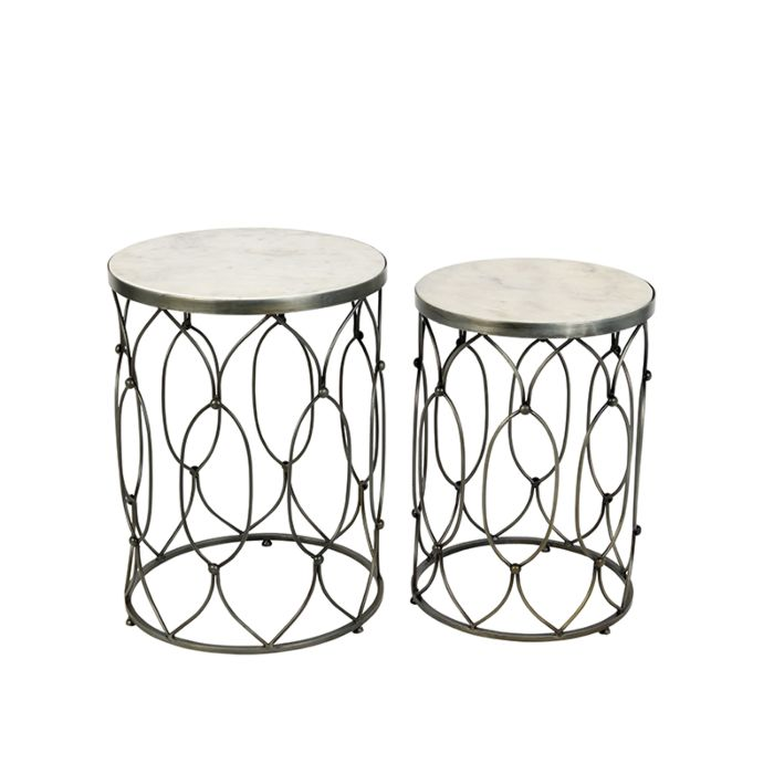 Set-of-2-Side-Tables-Marm-Steel-with-White-Marble-Top
