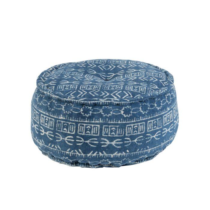 Round-Pouffe-60cm-Blue---Varanasi