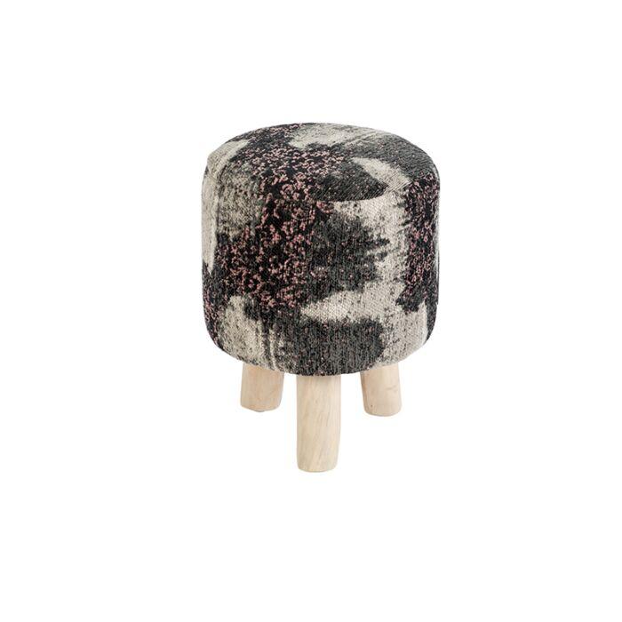 Vintage-Round-Pattern-Stool-Black/Beige/Pink-30x30x40cm---Puri
