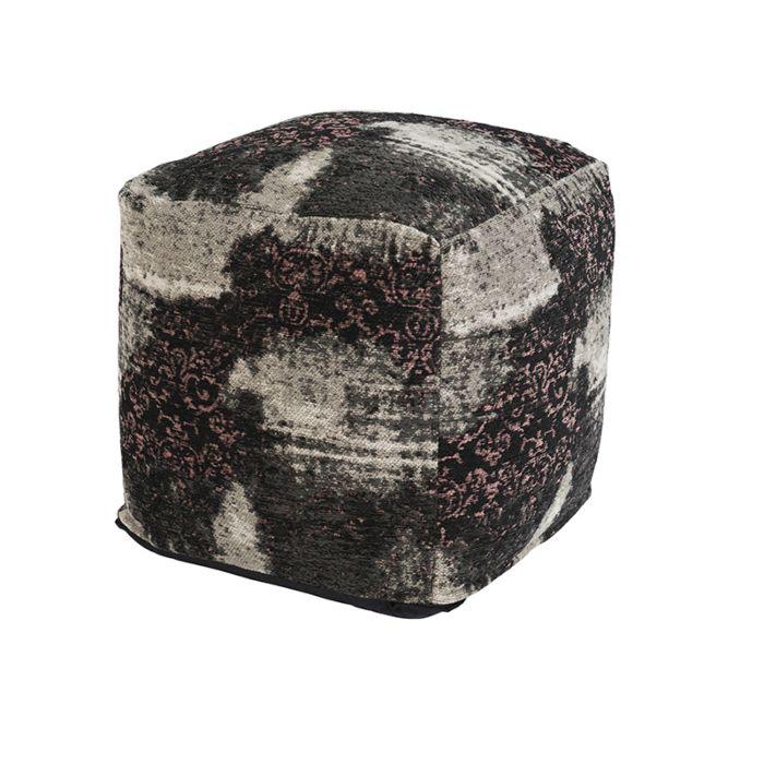 Vintage-Square-Ottoman-Pattern-Black/Beige/Pink-45x45x45cm---Puri