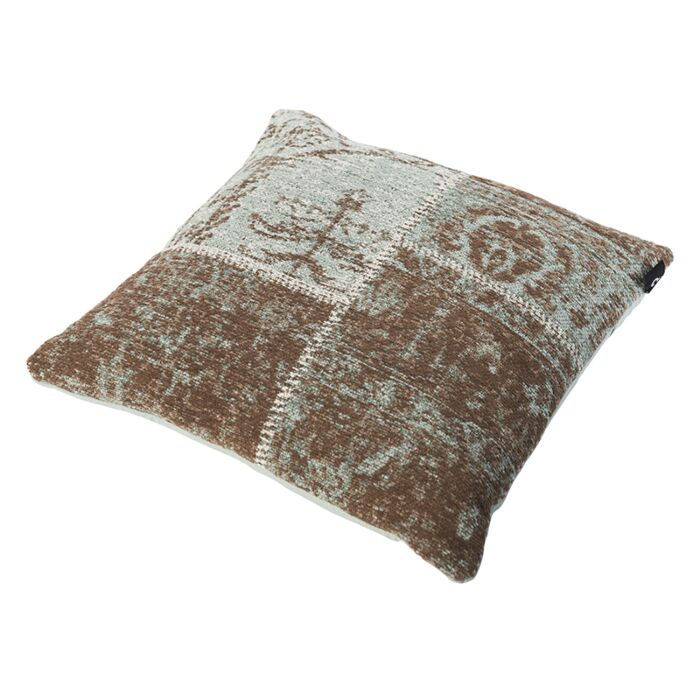 Vintage-Square-Patch-Pillow-Turquoise/Brown-45x45cm---Agra