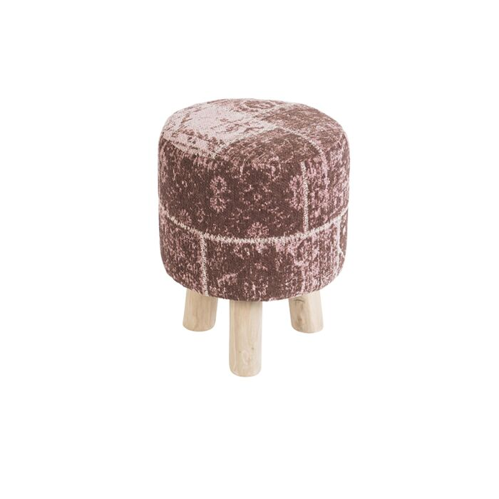Vintage-Round-Patch-Stool-Faded-Pink-30x30x40cm---Agra