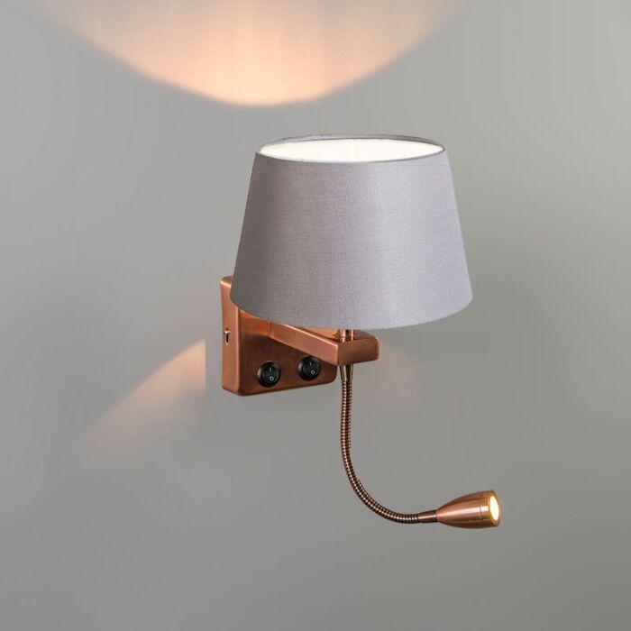 Wall-Lamp-Brescia-Combi-Copper-with-20cm-Shade-Light-Grey