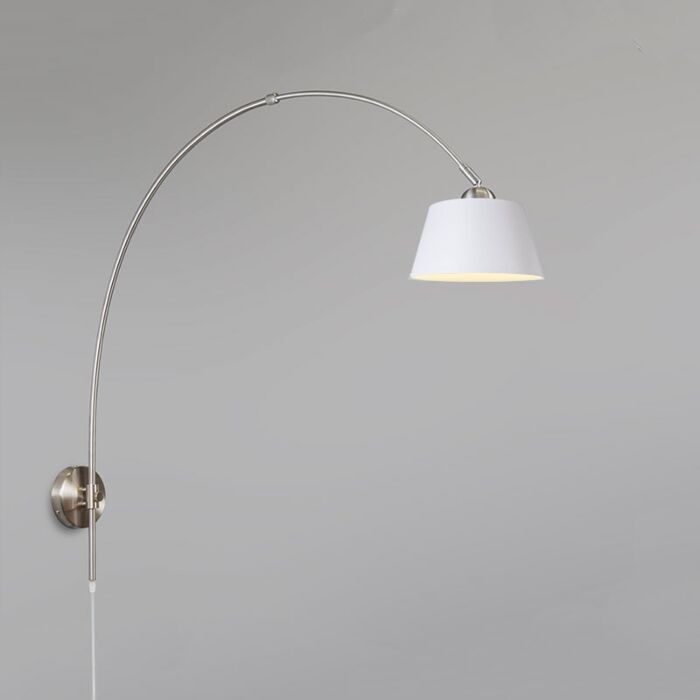 Arc-Wall-Lamp-Steel-with-20cm-Shade-White