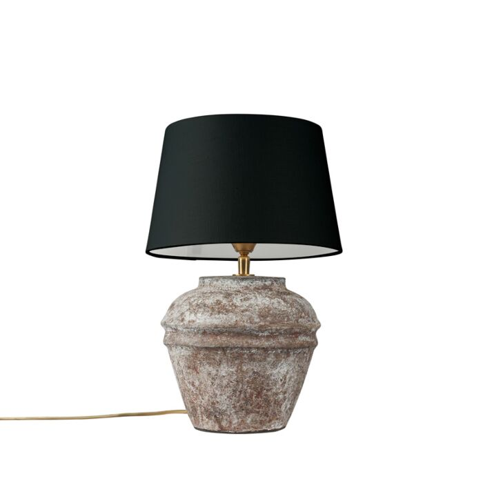 Country-table-lamp-brown-with-black-shade---Arta-XS-vintage