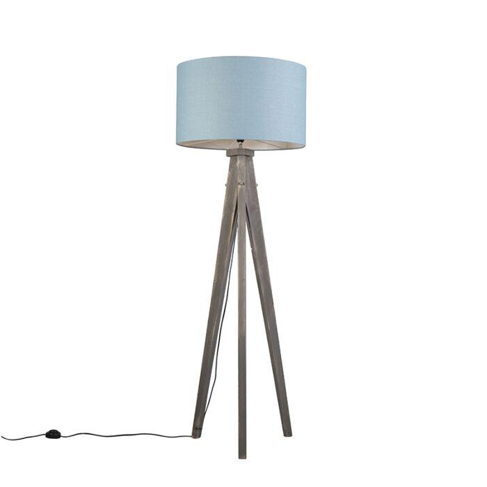 Floor-Lamp-Tripod-Karos-Grey-with-Shade-55cm-Blue