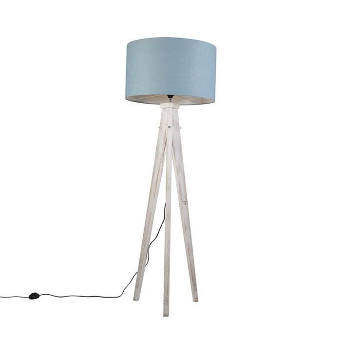 Floor-Lamp-Tripod-Karos-White-with-Shade-55cm-Blue