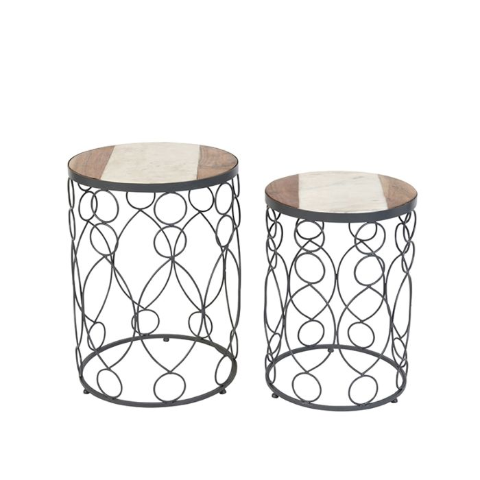 Set-of-2-Side-Tables-Marm-Concrete-with-Wood-Effect-Marble-Top