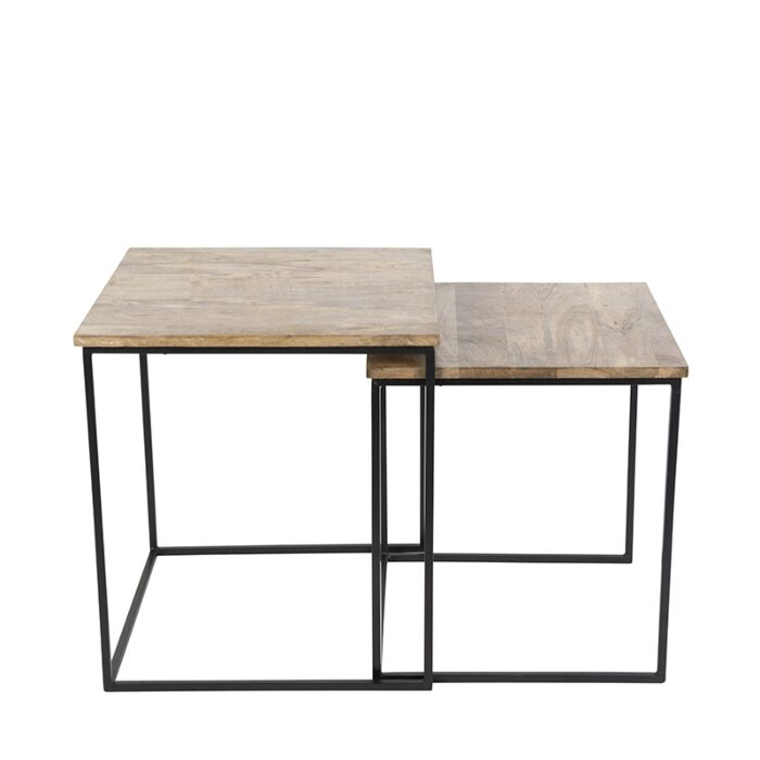 Set-of-2-Side-Tables-Hemis-Black-with-Square-Wood-Top