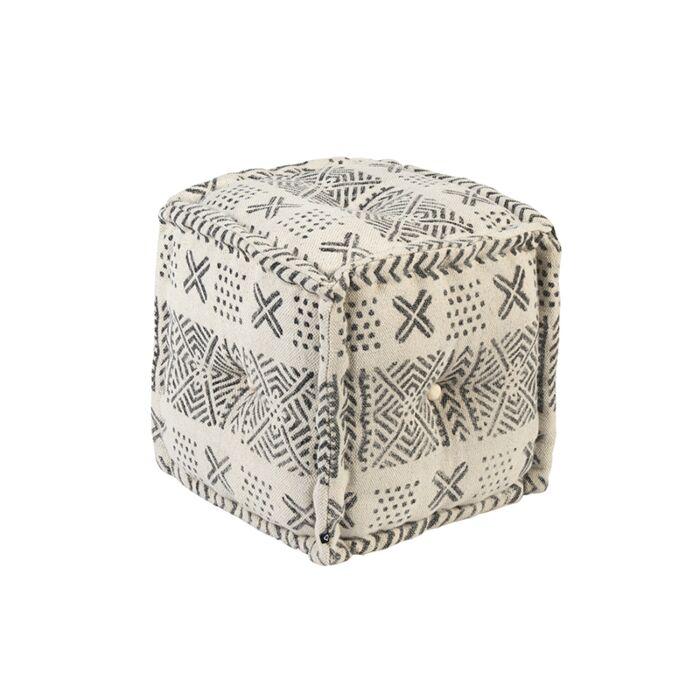 Square-Ottoman-40-x-40-Black-and-Ecru---New-Delhi