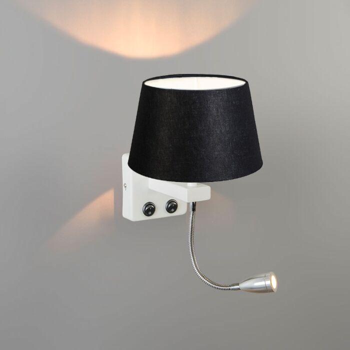Wall-Lamp-Brescia-Combi-White-with-20cm-Shade-Black