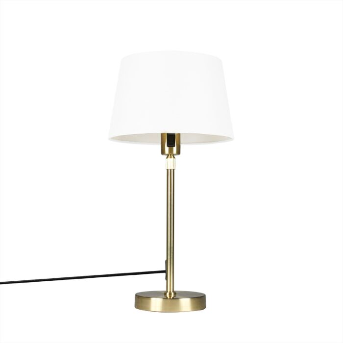Table-lamp-Gold/Brass-with-25cm-White-Shade---Parte