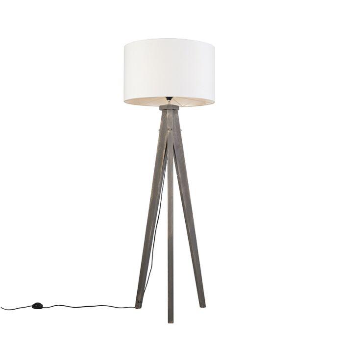 Floor-Lamp-Tripod-Karos-Grey-with-Shade-55cm-White