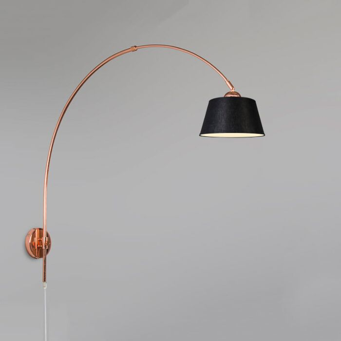 Arc-Wall-Lamp-Copper-with-20cm-Shade-Black