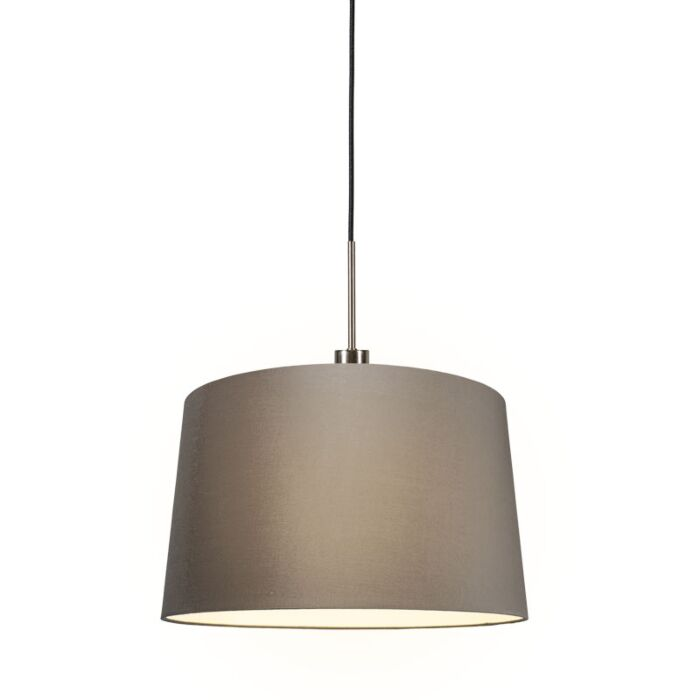 Modern-Pendant-Lamp-Steel-with-45cm-Taupe-Shade---Combi-1