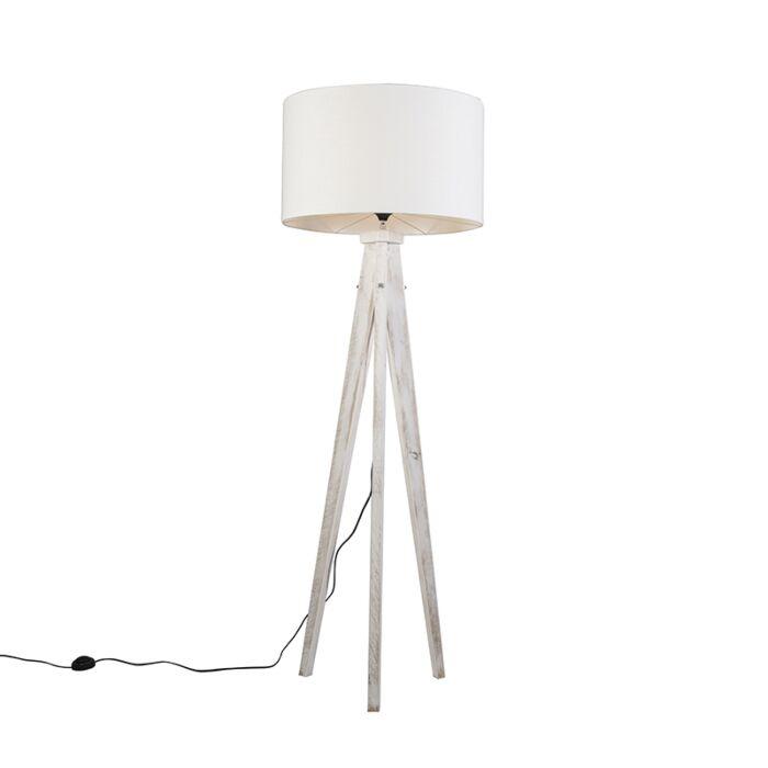 Floor-Lamp-Tripod-Karos-White-with-Shade-55cm-White