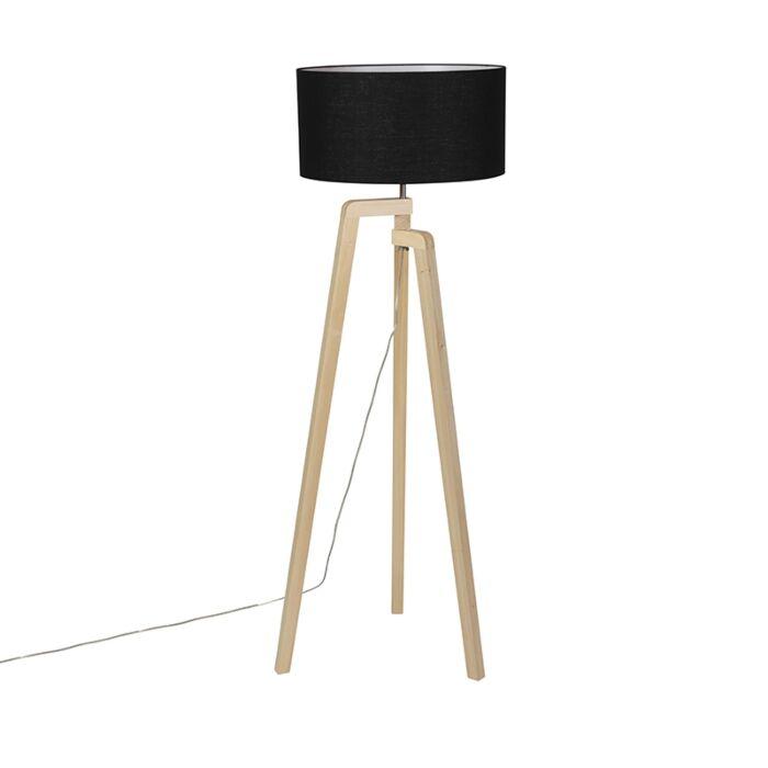 Modern-floor-lamp-wood-with-black-shade-45-cm---Puros