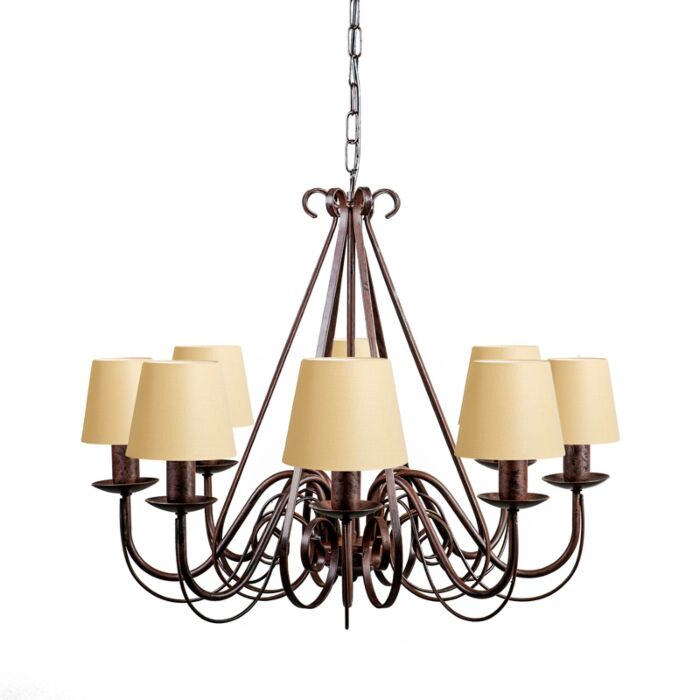 Chandelier-Giuseppe-8-Rust-with-Cream-Clamp-Shades