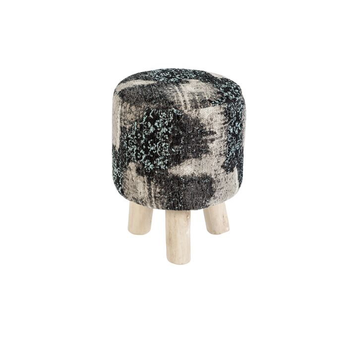 Vintage-Round-Pattern-Stool-Black/Beige/Turquoise-30x30x40cm---Puri